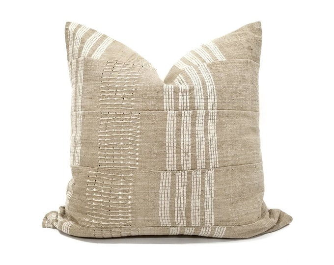 """Featured listing image: 20"""" or 22"""" khaki aso oke pillow cover"""