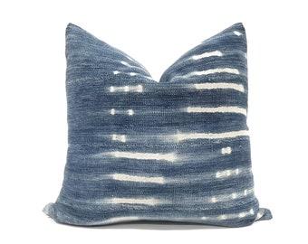"""20"""" faded indigo mudcloth pillow cover"""