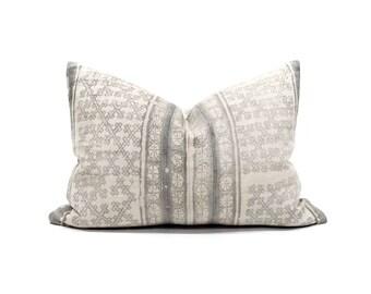 """14""""×20"""" grey batik hmong pillow cover"""