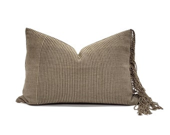 "14""×20"" fringe on side olive Asian textile cotton stripe pillow cover"