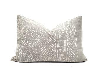 "14""×20"" grey vintage Chinese batik pillow cover"