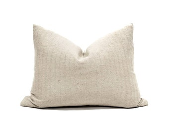 "16""×20"" beige hemp soft linen Asian textile pillow cover"