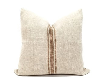 """Reserved, 21"""" vintage grainsack rust stripe pillow cover"""