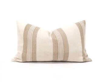 "11""×20"" cream w/ khaki stripe aso oke pillow cover"