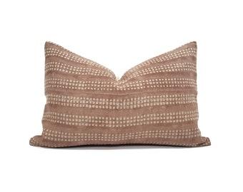 """13""""x20"""" hand block print terra cotta flax linen pillow cover"""