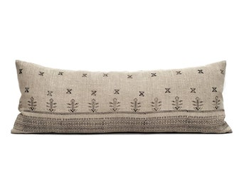 "13""×34"" black block print on flax linen bed pillow, batik pillow"