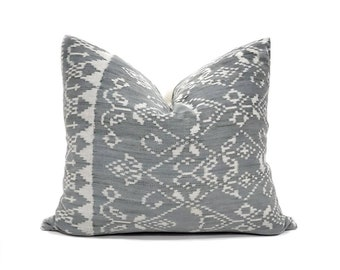 """17""""×20"""" muted blue grey ikat pillow cover"""