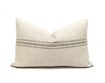 "16""x24"" grainsack look stripe pillow cover"