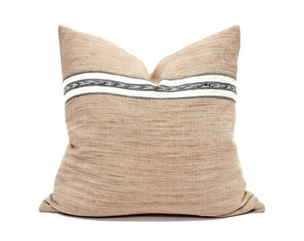 "18.5"" blush cotton Asian textile pillow"