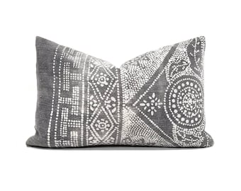 "13""× 20"" Gray chinese batik pillow cover"