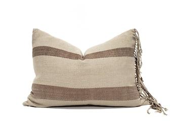 "14.75""×21"" fringe on side khaki/brown stripe Asian textile cotton pillow cover"