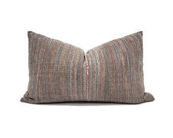 "13""×21"" muted plum Asian textile cotton stripe pillow cover"
