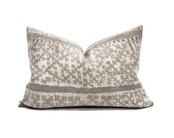 "14""×20"" Hmong grey batik linen pillow cover"