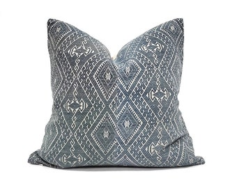 "18"" muted greyish indigo Chinese wedding blanket pillow cover"