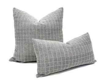 Gray with white embroidery cotton pillow cover