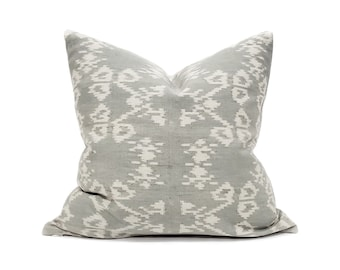 "18"" muted sage ikat pillow cover"