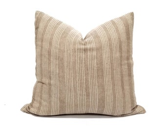 Beige tan embroiled Asian textile cotton pillow cover in various sizes