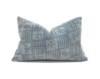 "13""×20"" muted indigo mudcloth pillow cover"