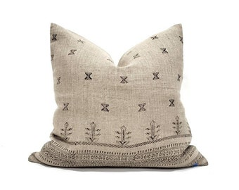 """19""""& 20"""" black on flax block printed linen pillow cover"""