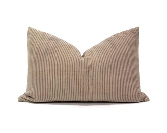 "13""x20"" Dusty beige nude pinstripe hemp hmong pillow cover"
