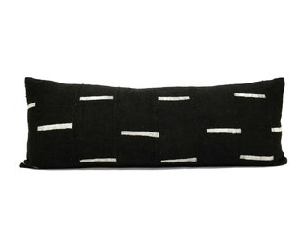 "13""×35"" Black mudcloth extra long bed pillow"