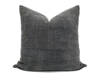 Oliveish gray African fine weave mudcloth pillow cover in various sizes