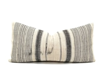 "13""×26"" flax & muted indigo/black stripe hmong hemp linen pillow cover"