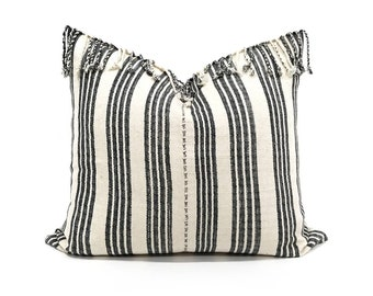 "19""x 21.5"" dark grey/black stripe Asian textile cotton pillow with fringe"