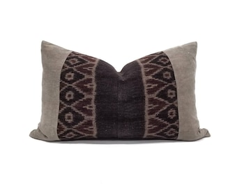"13""×21"" Indonesian ikat+ Chinese khaki panel pillow cover"