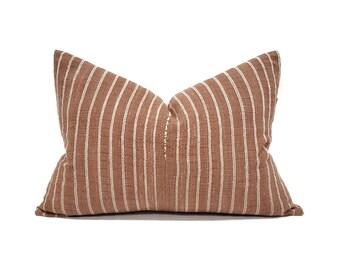 """15""""×21.5"""" rust stripe cotton Asian textile pillow cover"""
