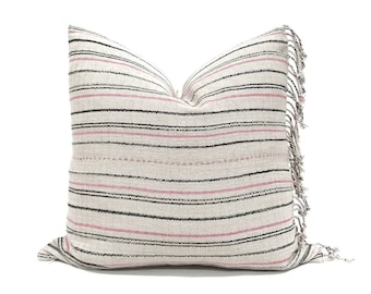 "20"" grey stripe Asian textile cotton pillow with fringe"