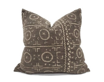 """20"""" vintage dark brown mudcloth pillow cover"""