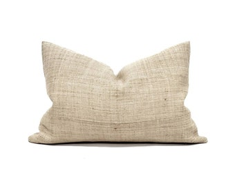 "15""×22"" sand/beige hemp linen Hmong pillow cover"