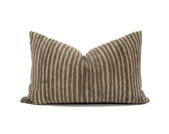 "12.25""x20"" vintage brown stripe mudcloth pillow cover"