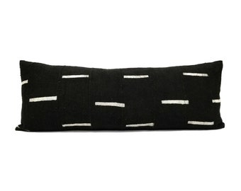 "13""×35"" Black mudcloth bed pillow"