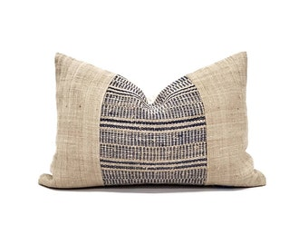 """13""""×19.25"""" indigo plaid hemp hmong linen+ beige hemp pillow cover"""