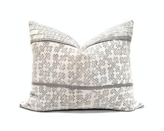 """15""""x19"""" Gray hmong batik hemp pillow"""