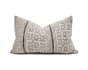 "12""×20"" Hmong charcoal grey batik linen/cotton pillow cover"