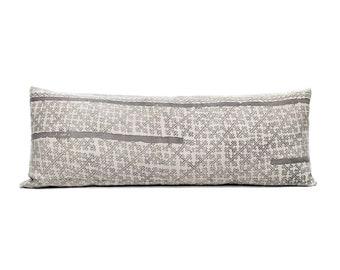 "13.5""×35"" Hmong grey batik print hemp linen bed pillow cover"