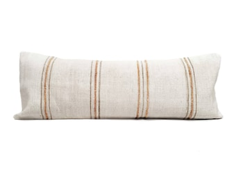"13""×37"" Turkish hemp kilim bed pillow cover"