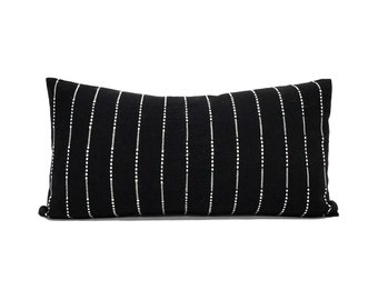 Black with cream embroidery cotton pillow cover in various sizes