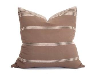 "22"" brick Indian cotton stripe pillow cover"