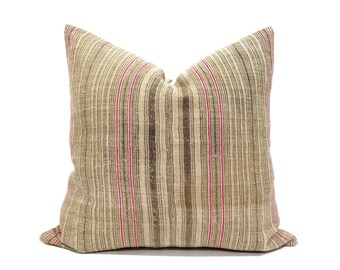 "22"" camel stripe hmong hemp linen pillow cover"