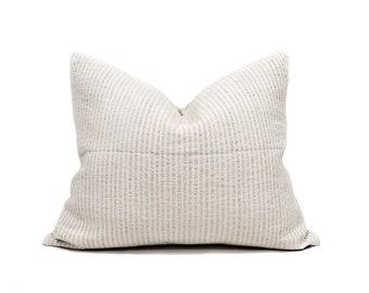 "17""×20"" neutral stripe grainsack pillow cover"