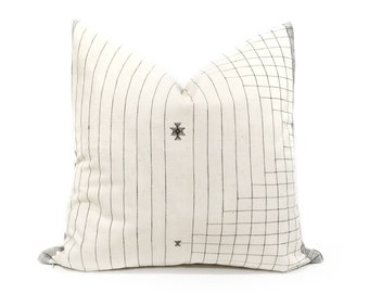 """21"""" Indonesian cotton stripe embroidered pillow cover"""