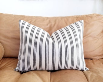 "15""×20"" grey stripe African textile pillow cover"