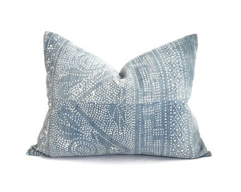 """16.5""""× 22"""" faded blue Chinese batik pillow cover"""