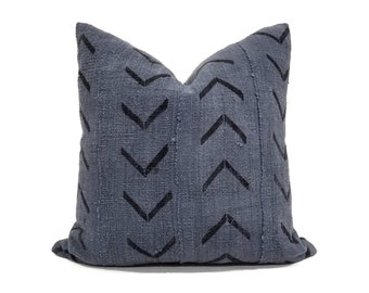 Gray big arrow mudcloth pillow cover in various sizes