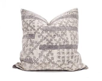 "21"" Hmong grey batik hemp linen pillow cover"