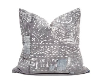 """20"""" patched grey Chinese batik pillow cover"""